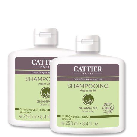 Šampoon rohelise saviga rasustele juustele duopakk